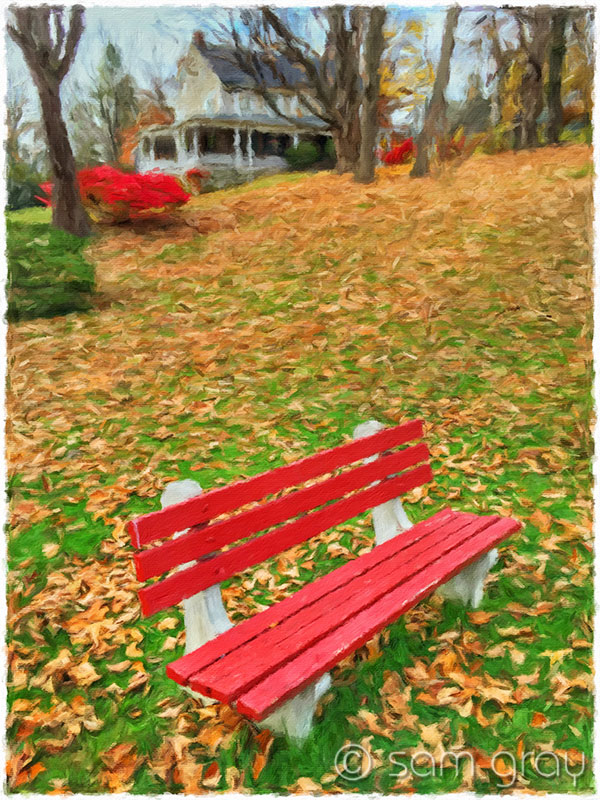 Red Bench in Autumn - iPhone6, Artista Impresso
